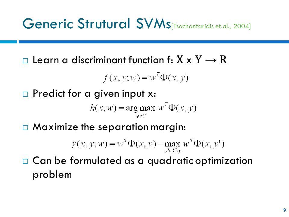 Generic Strutural SVMs[Tsochantaridis et.al., 2004]